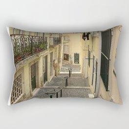 Narrow Alleyway in Lisbon, Portugal Rectangular Pillow