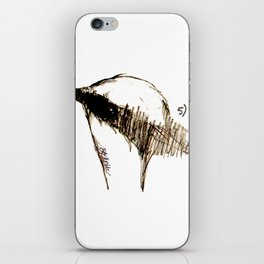 The house sparrow: a pencil study at the boulangerie Picardie iPhone Skin