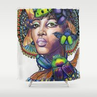 egyptian Shower Curtains featuring Egyptian Queen by Thea Maia