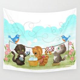 Three Kittens Washing Mittens Wall Tapestry