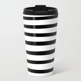 Black and White Hand Drawn Stripes Travel Mug
