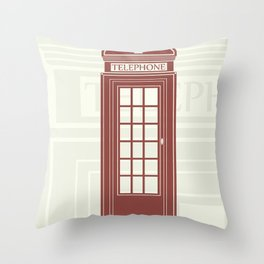 figure of a red telephone booth in England Throw Pillow
