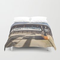 pocket fuel Duvet Covers featuring Fuel Station by Dave Rasura