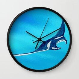 manta ray - raie manta  - et roches Wall Clock