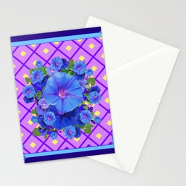 Blue & Purple Morning Glories Pattern Art Stationery Cards