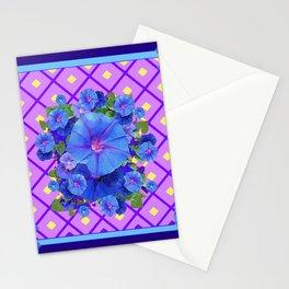 Blue & Purple Morning Glories Pattern Art Stationery Cards