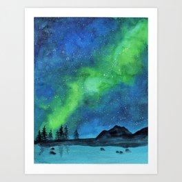 Watercolor galaxy landscape Art Print