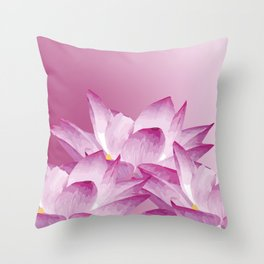 Lotos Flowers Pink Throw Pillow