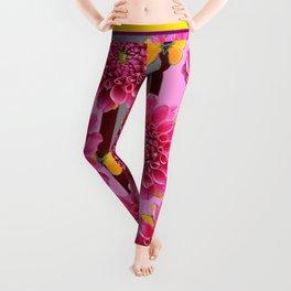 PINK DAHLIAS YELLOW BUTTERFLIES GREY ART Leggings