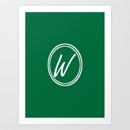 Monogram - Letter W on Cadmium Green Background Art Print
