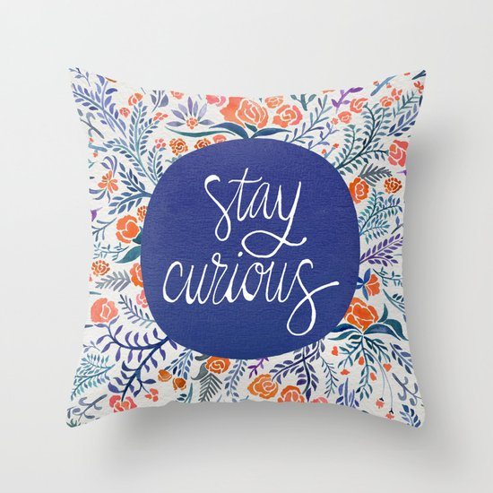 Stay Curious ? Navy & Coral Throw Pillow by Cat Coquillette Society6