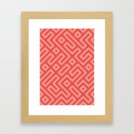 Modern Aztec Tribal Maze Red and Pink Framed Art Print