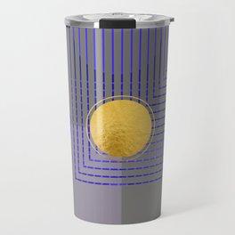Golden Moon Blue Light On Grey Travel Mug