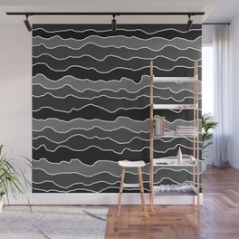 Four Shades of Black with White Squiggly Lines Wall Mural