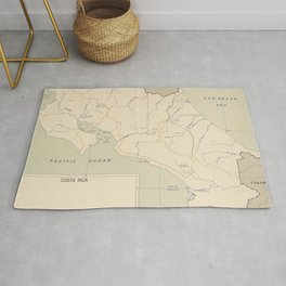 Vintage Map of Costa Rica (1950) Rug