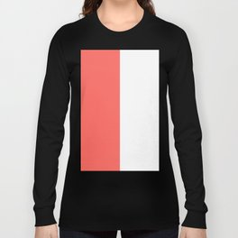 White and Pastel Red Vertical Halves Long Sleeve T-shirt
