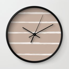 Skinny Strokes Gapped Horizontal Off White on Nude Wall Clock