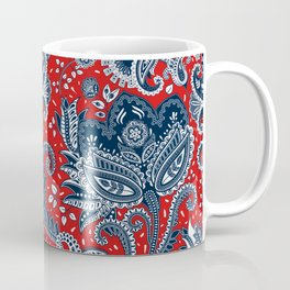 Red White & Blue Floral Paisley Coffee Mug