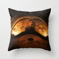 kafka Throw Pillows featuring Cafe Kafka by Bella Blue Photography