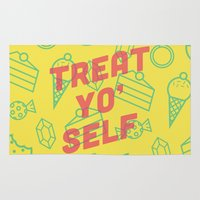 treat yo self Area & Throw Rugs featuring Treat Yo' Self by Zeke Tucker