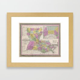 Vintage Map of Louisiana (1853) Framed Art Print