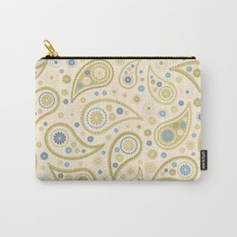 Paisley Funky Design Cream Golds Blues Carry-All Pouch