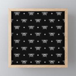 Bee Stamped Motif on Black Framed Mini Art Print