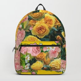 PINK & YELLOW SPRING ROSES GARDEN VIGNETTE Backpack