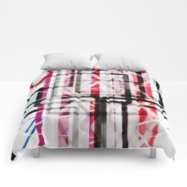Red Black White Abstract Drawing Comforters