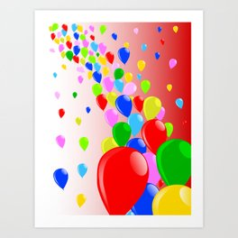Fly Away Balloons Art Print