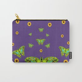 YELLOW SUNFLOWERS, GREEN MOTHS ON PURPLE Carry-All Pouch