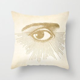 I See You. Vintage Gold Antique Paper Throw Pillow