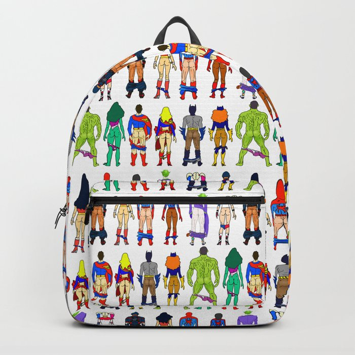 Superhero Butts - Power Couple on Grey Backpack