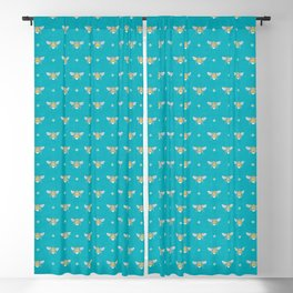 Bumblebee Stamp on Pool Blue Blackout Curtain