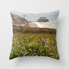 Spring Flowers in Jenner Headlands, Sonoma County Coast, Goat Rock, Coastal Photography, California Art Throw Pillow