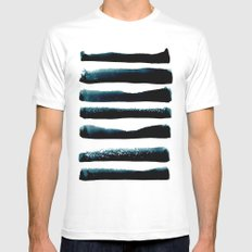 Black stripes minimal pattern Mens Fitted Tee White MEDIUM