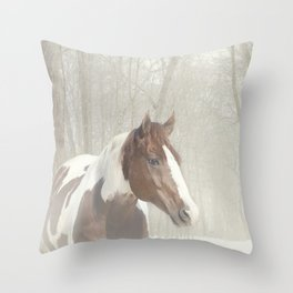 Sonny in the snow Throw Pillow