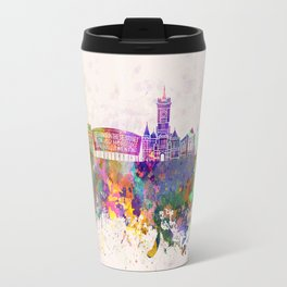 Cardiff skyline in watercolor background Travel Mug