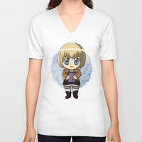 shingeki no kyojin V-neck T-shirts featuring Shingeki no Kyojin - Chibi Armin by Tenki Incorporated