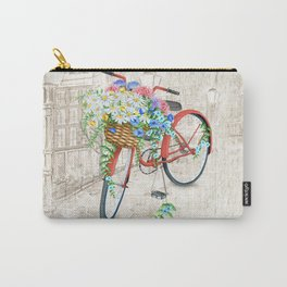 Vintage Red Bicycle with Flowers City Background Carry-All Pouch