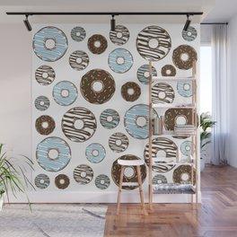 Pattern Of Donuts, Sprinkles, Icing - Blue Brown Wall Mural