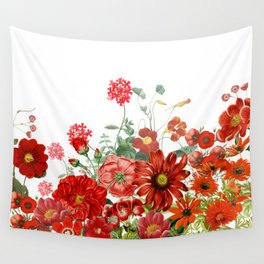 Vintage & Shabby Chic - Red Summer Flower Garden Wall Tapestry