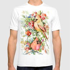 Cardinal Birds and Hawthorn White MEDIUM Mens Fitted Tee