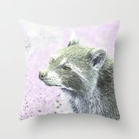 racoon Throw Pillows featuring sketched racoon by MehrFarbeimLeben