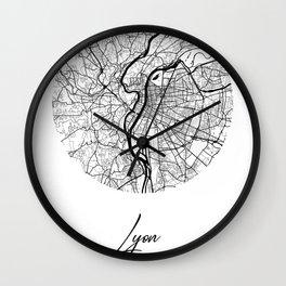 Lyon Area City Map, Lyon Circle City Maps Print, Lyon Black Water City Maps Wall Clock