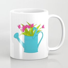 Spring Tulips In A Turquoise Watering Can Coffee Mug