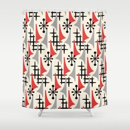 Mid Century Modern Atomic Wing Composition 234 Red and Gray Shower Curtain