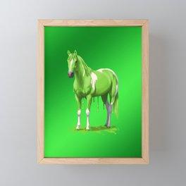 Lime Green Pinto Dripping Wet Paint Horse Framed Mini Art Print