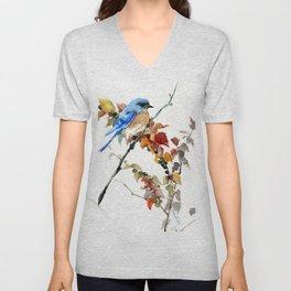 Bluebird on Fall Tree Unisex V-Neck