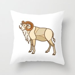 Geometric Dall Sheep Throw Pillow